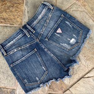 Guess | High Rise Distress Denim Shorts